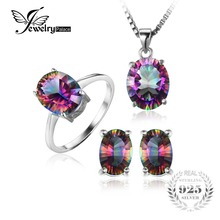 Brand New Hot Sale Genuine Rainbow Fire Mystic Topaz Oval Pendant Ring Earrings Stud For Women Solid 925 Sterling Silver Set(China)