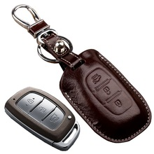 Leather Car Key Fob Cover for hyundai Creta Mistra ix35 ix25 Verna Key Holder Wallet Key Case Shell Key Chain Auto Accessories