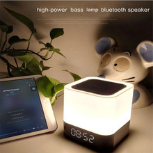 Mini Touch LED Bluetooth Wireless Speaker HIFI 3D Stereo Bass Sound Box Alarm Clock Calendar TF AUX Multi-Function Lautsprecher(China)