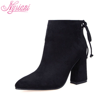 Nysiani Women Boots 2017 High Heels Ankle Boots Short Plush Pointed Toe Motorcycle Boots Fashion Sexy Winter Ankle Boots Heels
