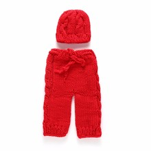 Knit Santa Hat Pants Christmas Baby Crochet Pattern Cap Hat Solid Color Newborn Thermal Photography Props Gifts Unisex Clothes(China)