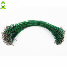 JSM 100pcs 20cm Nylon Coated Fishing Wire Leader Stainless Steel Braided Trace Spinning Leader Rigs Steel Wire Line With Swivel(China)