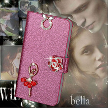 Luxury PU Leather Wallet Case For Apple iPod touch 4 Flip Cover Shining Crystal Bling Case with Card Slot & Bling Diamond