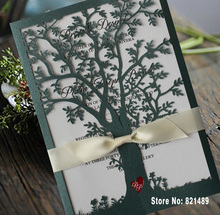 Green Color Tree Wedding Invitations, White Ribbon Invitation Cards, Laser Cut Tree Wedding Invitations - Set of 50(China)