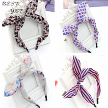 1 Pc/lots New Korea Fashion Bow Bunny Ears Headband Hair Accessories Hair Bands Hair Jewelry