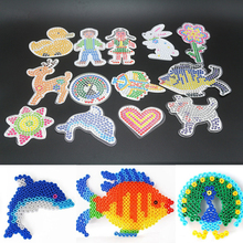 9 Piece/Lot 5mm Hama Beads Template With Colore Paper Plastic Stencil Jigsaw Perler Beads Diy Transparent Shape Puzzle Pegboard(China)