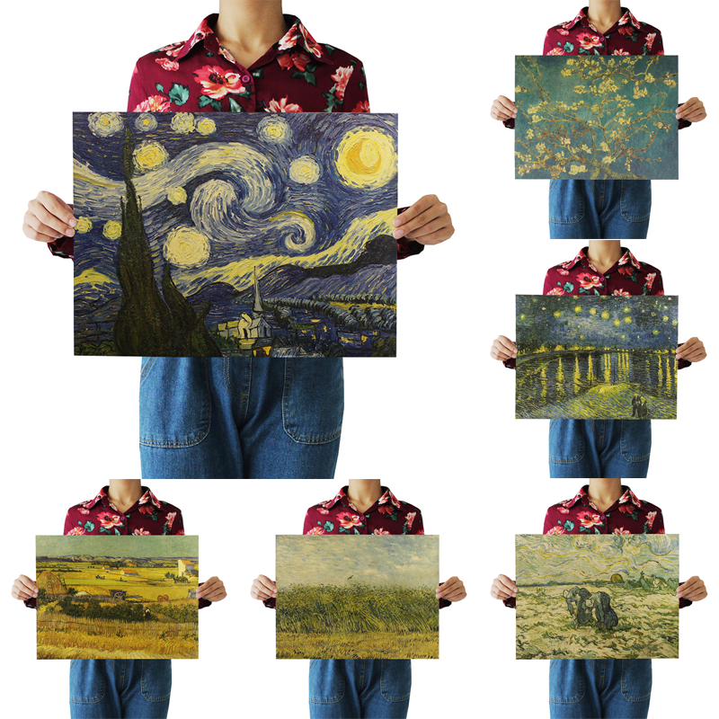 1Pcs 51.5x36cm Famous Vintage Van Gogh The Starry Night Painting Poster Retro Kraft Paper Cafe Home Decor Wall Sticker