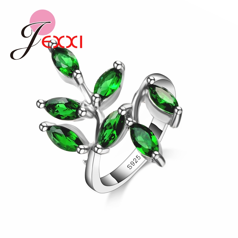 JEXXI Funny Leaves Shape 2016 NEW Arrival Women Finger Rings 925 Sterling Silver Female Top Quality Green Crystal Ring(China)