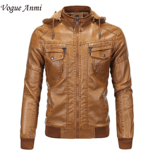 Vogue Anmi 2017 Winter Warm Fleece Men's Leather Jackets Casual Men Vintage Motorcycle PU Jacket Male Moto Coats Brand Clothing