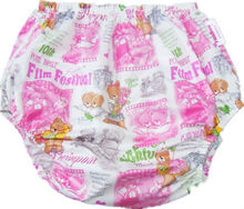 Free Shipping FuuBuu2202-Pink Bear-L-1PCS adult plastic non pants for babies diapers adult cloth diaper cover pvc shorts ABDL