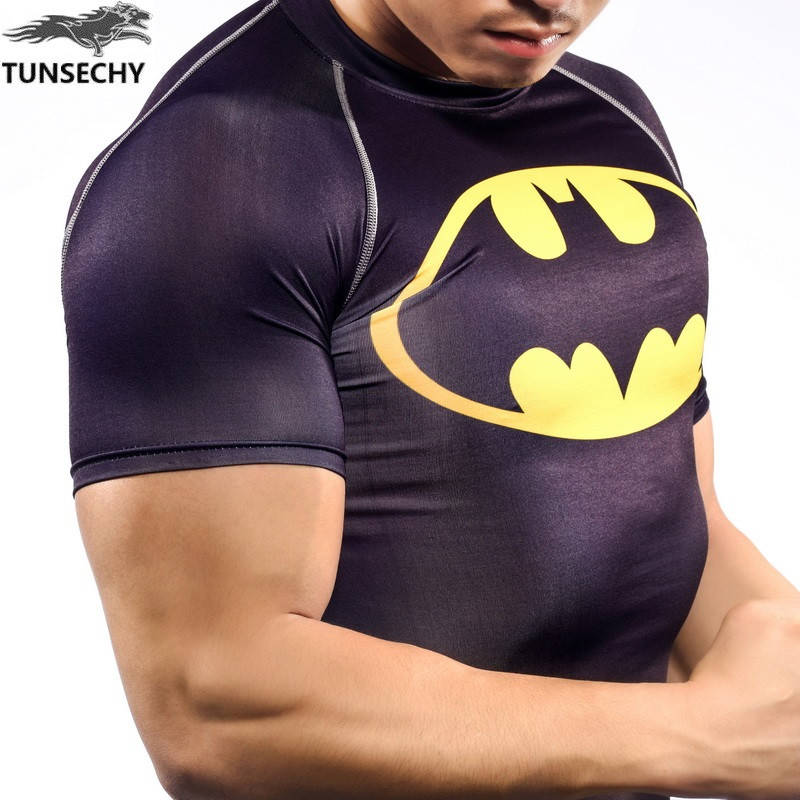 NEW Mens Compression Shirts Bodybuilding Skin Tight Short Sleeve Jerseys TUNSECHY brand Crossfit Outdoor sports bike t Shirt 285