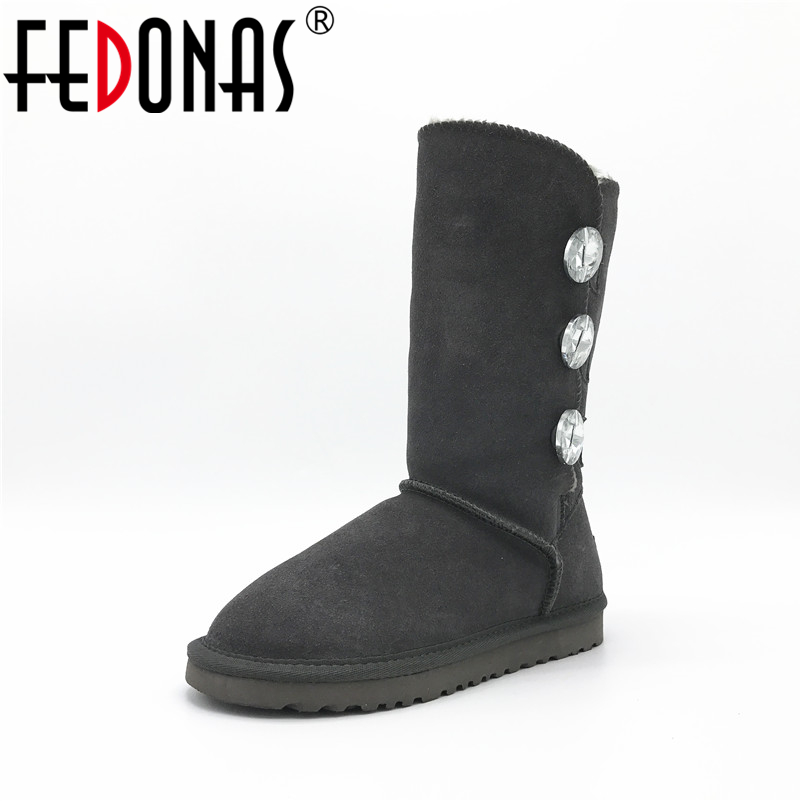 FEDONAS Women Boots Fashion Classic Cow Suede High Snow Boots Warm Winter Flats Knee High Boots Leather Long Shoes<br>