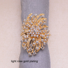 (J0340) 44mmx67mm rhinestone napkin ring for wedding table decoration,napking ring,nickle or rose gold plating,ring size:40mm(China)