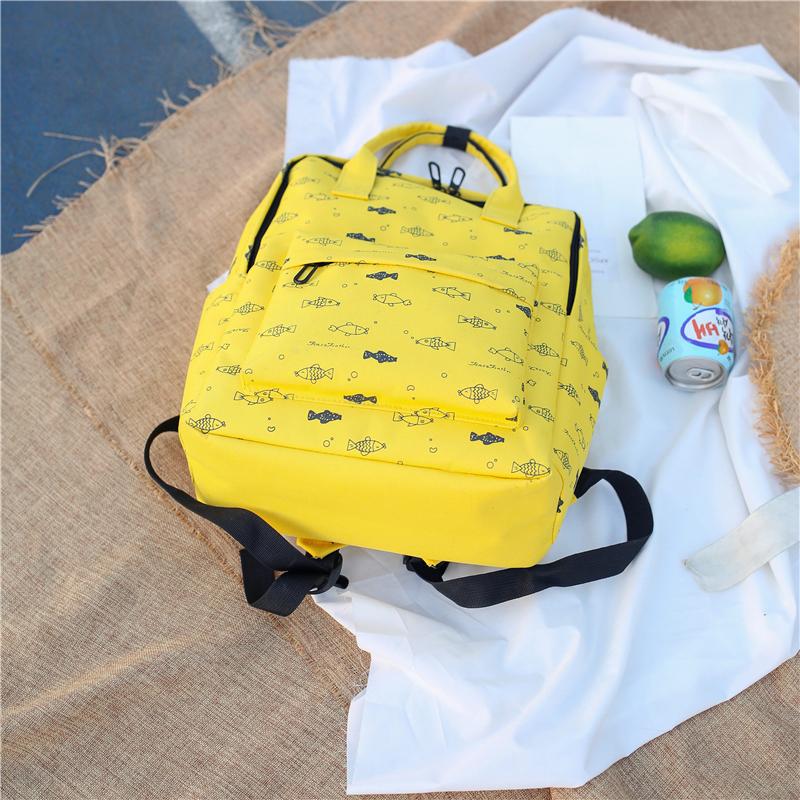 Menghuo Fish Printing Women School Bag Backpack for Teenage Girls Backpacks Female Canvas Children Schoolbag Women Bag s (11)