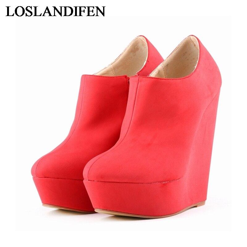 New Fashion Nubuck Leather Round Toe Wedges Pumps Black 13 Colors High Heel Platform High Quality Women Work Shoes NLK-A0099<br>