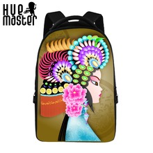 HUE MASTER 17 inch Chinese style pattern school backpack  boys and girls laptop bag can store 15 inch computer Built-in velvet