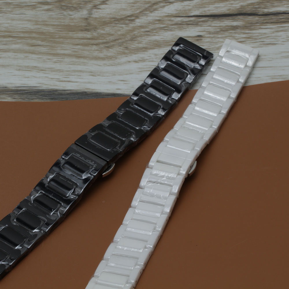 Ceramic Watchband 20mm 22mm for Samsung Gear S3 Classic Frontier Gear 2 strap Band Butterfly Clasp Wrist bracelets black white <br>