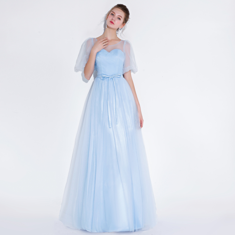 Sky Blue Long Evening Dresses 2019 for Women Plus Size A line Wedding Party Prom Dresses Formal Women Dresses Long reflective dr