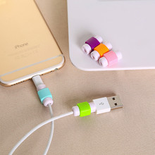10 Piece FFFAS Mini Cute Silicone USB Cable Protector Plastic Cord Protection Wire Cover shell for iphone 5 5s 6 6s 7 plus Cable