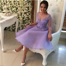 Long Sleeve Elegant 2016 New Summer Sexy Knee-Length Lavender Flowers Organza Cocktail Dresses Party Dress robe de cocktail