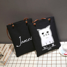 longmiao Cartoon Cat Printed Handbag Letter Casual Tote Lady Canvas Beach Bag Small Daily Single Shoulder Female Shopping Bags