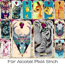 Soft TPU Silicone Phone Case For Alcatel OneTouch Pixi 4 5.0'' OT-5010 5010D 3G Version Covers Colorful Animal Housing Bag