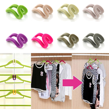 10 pcs Home Creative Mini Flocking Clothes Hanger Easy Hook Closet Organizer Random Colors!(China)