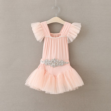 Foreign Children Fashion Girls Princess Dress Baby Girl Rhinestone Personality Slim Pearls Yarn Tutus Flower Dresses with Belt(China)