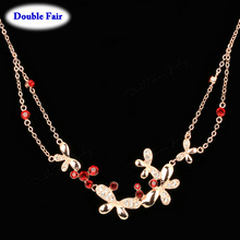 DWN037 Butterfly Red Crystal Rose Gold Color Party Necklaces & Pendants Wedding Jewelry Anti Allergy High Quality()