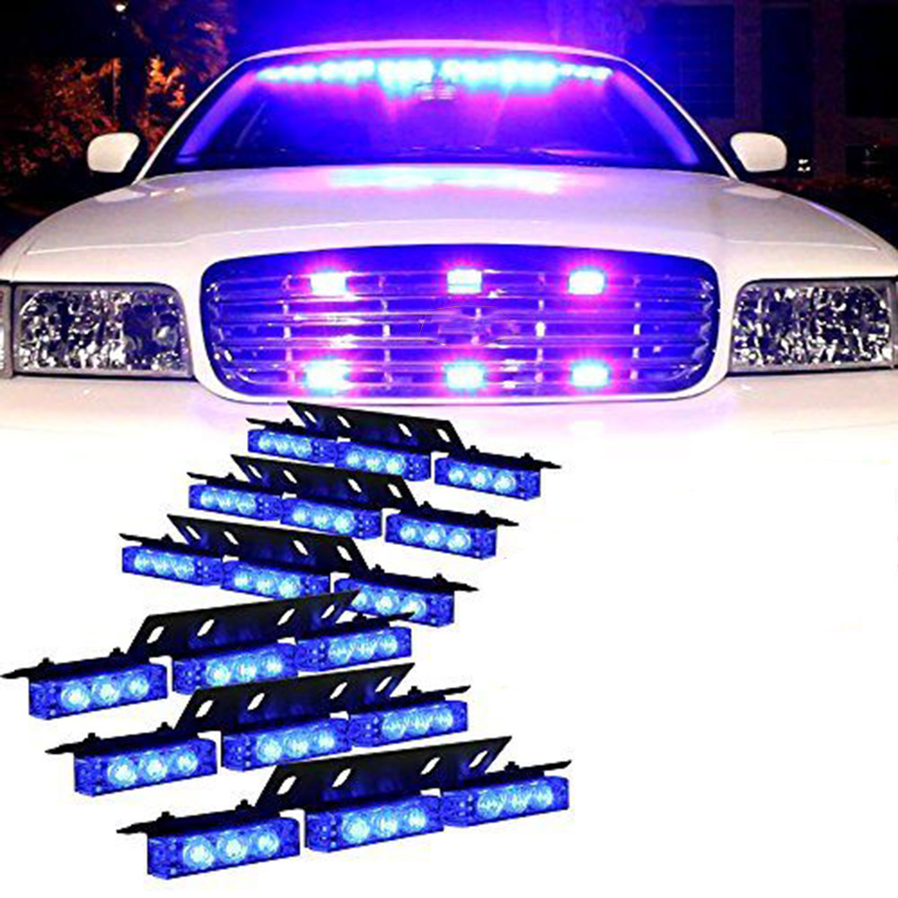 12V Super Bright Leds Automobiles Car Stying 54LED Truck Grille Dash Strobe Lights Hazard Warning Flash Lamp Blue<br><br>Aliexpress