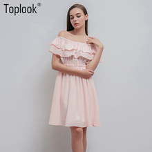 Toplook Cascading Ruffle Dress Chiffon Pink Off Shoulder Sexy Summer Dress Women 2017 Short Elegant Dress Wrap Party Dresses(China)