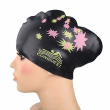 Women swimming caps Silicone Long Hair Girls Waterproof Swimming Cap swim hat for Lady With Ear Cup