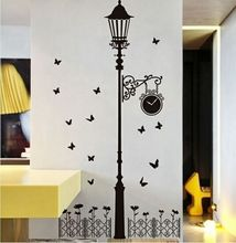 Free Shipping JM7177 New removable vinyl wall stickers Street lamps and Iron fence diy home decor wall decals 60* 90CM