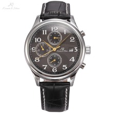 KS IMPERIAL Series Auto Mechanical Date Month Day Display Men Business Dress Silver Case Luxury Black Leather Strap Watch /KS156