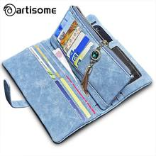 ARTISOME Leather Wallet Female Case For iPhone 5S 5 SE 6 6S 7 Phone Bag Case Wallet Women Purse Card Holder Passport Cover Coque