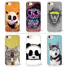 New China cute panda owl dog Hard Transparent Phone Case Cover Coque for Apple iPhone 4 4s 5 5s SE 5C 6 6s 7 Plus