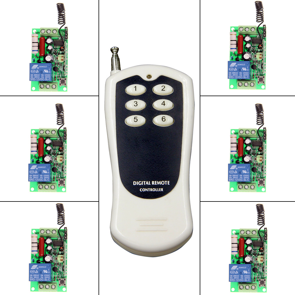 AC 220V 110V 1 CH 1CH RF Wireless Remote Control Switch System,6CH Transmitter + 6 X Receiver,Toggle,315/433.92<br>