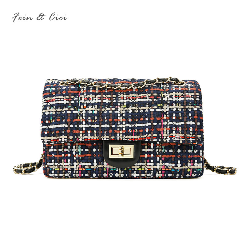 luxury brand double flap bag women plaid CF chains tweed bag checks party bag handbag leather shoulder bag crossbody 2018 new<br>