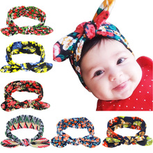 Fashon Girl Cotton flower Headband Turban rabbit Bowknot scrunchy Headwear girls print Knot hairband Hair Accessories