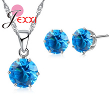 JEXXI 1 대 패션 Wedding Jewelry Sets 17 Color Optional 925 Sterling Silver 6 Claw CZ 펜 던 트 Necklace Stud Earring 대 한 Women(China)