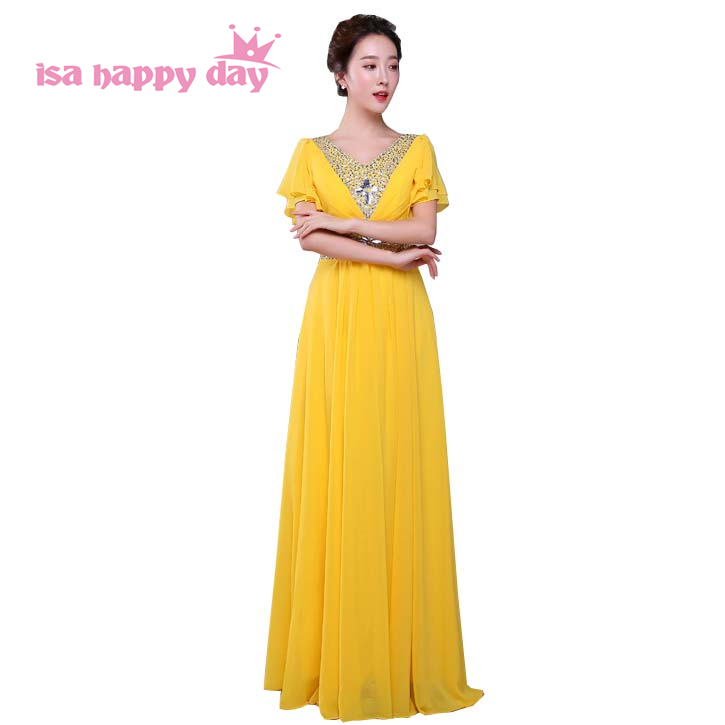 women plus size v neck dress for bridesmaid chiffon tank brides maid floor length dresses 2019 yellow of wedding long H4160