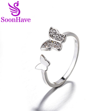 SoonHave Butterfly Rings Accessories 925 Sterling Silver Bowknot Rings Cubic Zirconia For Women Fashion Party Jewelry Gift(China)