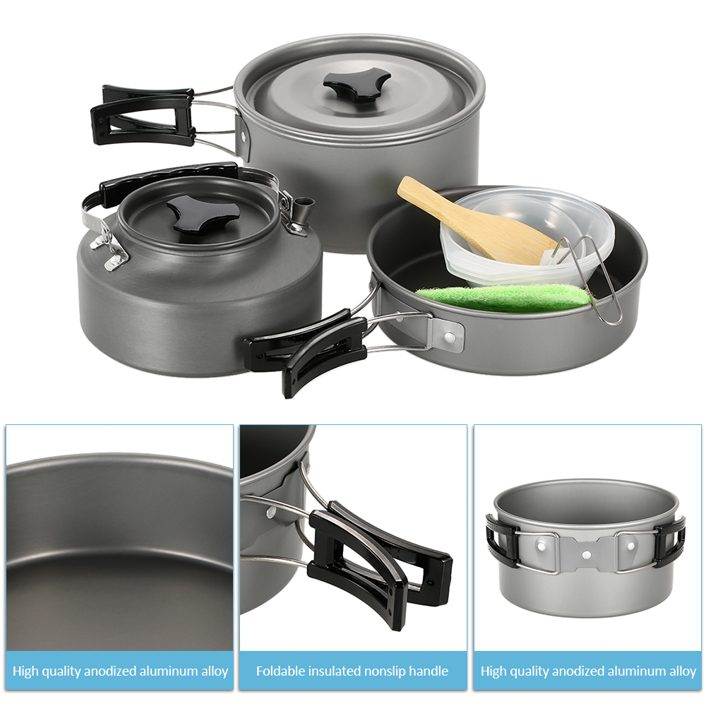 Folding Portable Aluminium Camping Cooking Cookware Set Pots Pans Kettle Spoon