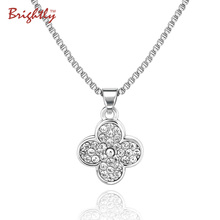 Brightly Love Four Leaf Clover Pendant Necklace Lucky Charm Chains Necklace for Women Valentine's Day Gifts Dropshipping(China)