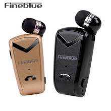 Fineblue F-V2 Bluetooth Stereo Business Headset BT 4.0 Voice Prompt Wireless Music Earphone Earpiece Cable with Clip for Oppo/LG