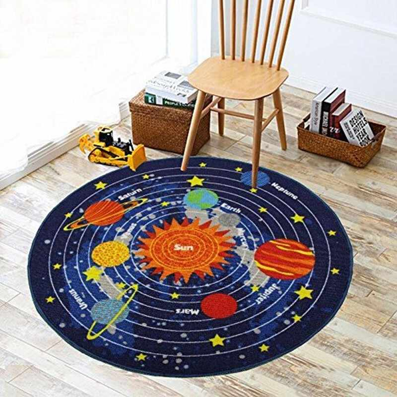 3 Sizes Kids Rug Round Area Rug Carpet for Kids Solar System Children Learning Area Rug Children's Non Slip Bottom Fun Area Rug