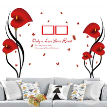 Removable Vinyl Red Flower Wall Sticker Photo Frame Tree Wall Decal DIY Love Heart Wall Sticker Home Decoration(China)