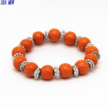 SEA MEW Hand-woven Ceramic Orange Beads Bracelet Bangle Charm Bohemian Style Elastic Bracelet Women DIY Jewelry(China)