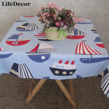 Blue sailing canvas table cloth dining table cloth table cloth towel cover tablecloth table mat customize