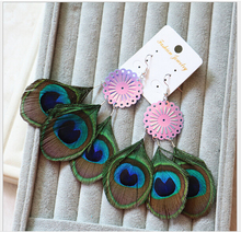 New popular Bohemian circular sequined multilayer earrings national wind peacock feather earrings